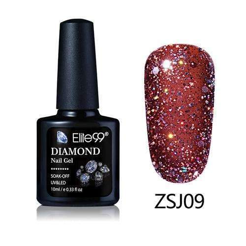 PinKart-USA Online Shopping ZSJ09 Elite99 10Ml Diamond Nail Gel Glitter Uv Gel Polish Manicure Led Sequins Gel Nail Soak Off Gel