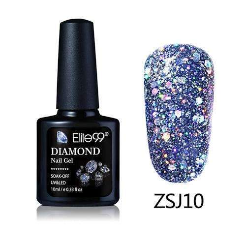 PinKart-USA Online Shopping ZSJ10 Elite99 10Ml Diamond Nail Gel Glitter Uv Gel Polish Manicure Led Sequins Gel Nail Soak Off Gel