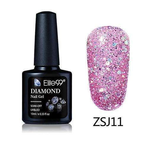 PinKart-USA Online Shopping ZSJ11 Elite99 10Ml Diamond Nail Gel Glitter Uv Gel Polish Manicure Led Sequins Gel Nail Soak Off Gel