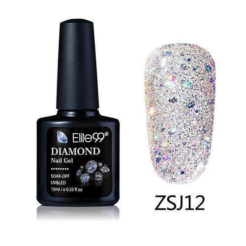 PinKart-USA Online Shopping ZSJ12 Elite99 10Ml Diamond Nail Gel Glitter Uv Gel Polish Manicure Led Sequins Gel Nail Soak Off Gel