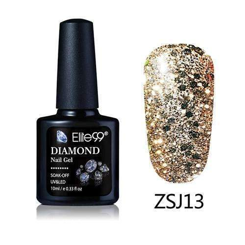 PinKart-USA Online Shopping ZSJ13 Elite99 10Ml Diamond Nail Gel Glitter Uv Gel Polish Manicure Led Sequins Gel Nail Soak Off Gel