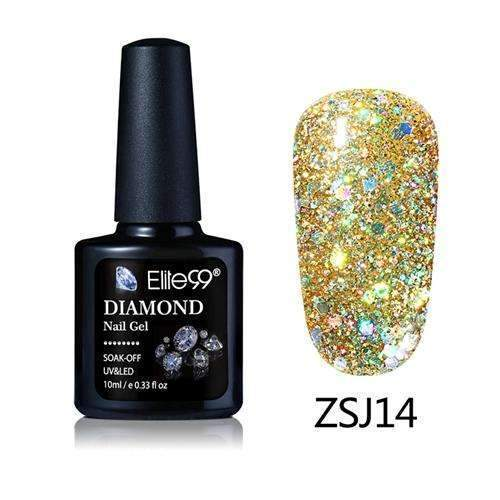 PinKart-USA Online Shopping ZSJ14 Elite99 10Ml Diamond Nail Gel Glitter Uv Gel Polish Manicure Led Sequins Gel Nail Soak Off Gel