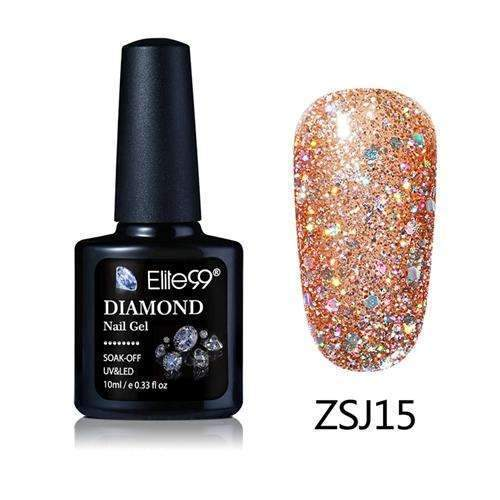 PinKart-USA Online Shopping ZSJ15 Elite99 10Ml Diamond Nail Gel Glitter Uv Gel Polish Manicure Led Sequins Gel Nail Soak Off Gel