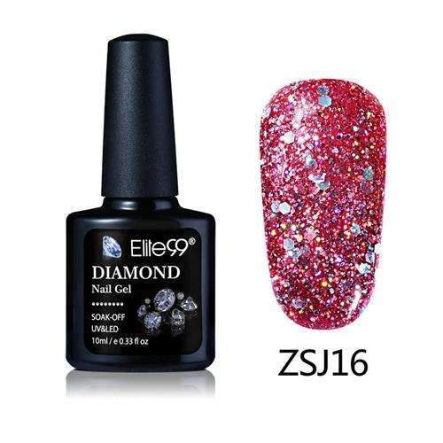 PinKart-USA Online Shopping ZSJ16 Elite99 10Ml Diamond Nail Gel Glitter Uv Gel Polish Manicure Led Sequins Gel Nail Soak Off Gel