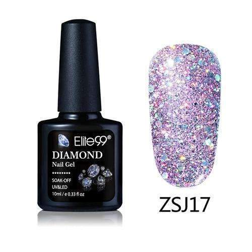PinKart-USA Online Shopping ZSJ17 Elite99 10Ml Diamond Nail Gel Glitter Uv Gel Polish Manicure Led Sequins Gel Nail Soak Off Gel