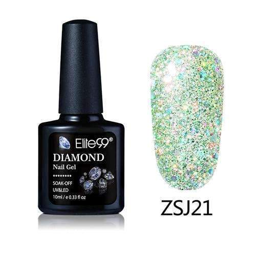 PinKart-USA Online Shopping ZSJ21 Elite99 10Ml Diamond Nail Gel Glitter Uv Gel Polish Manicure Led Sequins Gel Nail Soak Off Gel