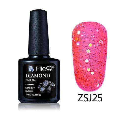 PinKart-USA Online Shopping ZSJ25 Elite99 10Ml Diamond Nail Gel Glitter Uv Gel Polish Manicure Led Sequins Gel Nail Soak Off Gel