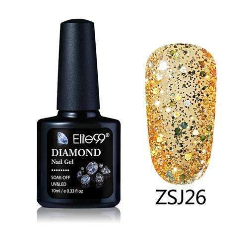 PinKart-USA Online Shopping ZSJ26 Elite99 10Ml Diamond Nail Gel Glitter Uv Gel Polish Manicure Led Sequins Gel Nail Soak Off Gel