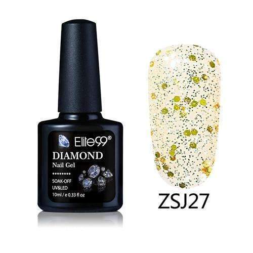 PinKart-USA Online Shopping ZSJ27 Elite99 10Ml Diamond Nail Gel Glitter Uv Gel Polish Manicure Led Sequins Gel Nail Soak Off Gel