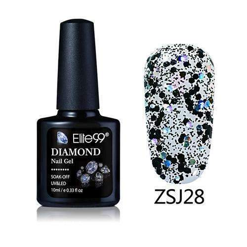 PinKart-USA Online Shopping ZSJ28 Elite99 10Ml Diamond Nail Gel Glitter Uv Gel Polish Manicure Led Sequins Gel Nail Soak Off Gel