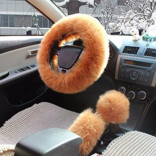 1 Set 3 Pcs Soft Wool Steering Wheel Cover Universal/O Shi Car Winter Warm Plush Sheepskin Braid On
