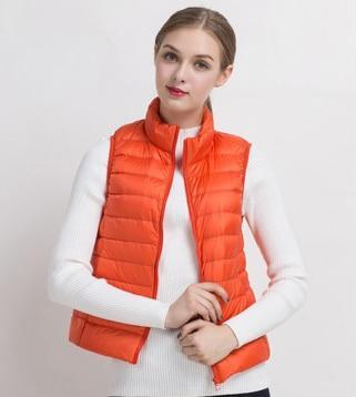 PINkart-USA Orange / S Women Vs Winter Ultra Light White Duck Down V Female Slim Sleeveless Jacket Women'S Windproof