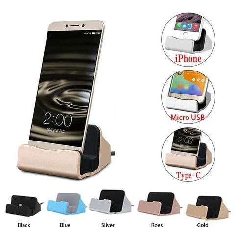 PINkart-USA Original Usb Cable Data Sync Charger Dock Stand Station Charging Android Type C Ios For Iphone 6