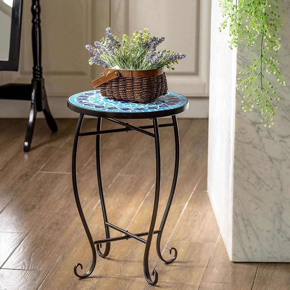 PINkart-USA Outdoor Indoor Accent Table Plant Stand Cobalt Blue Color Scheme Garden Steel Home Furniture