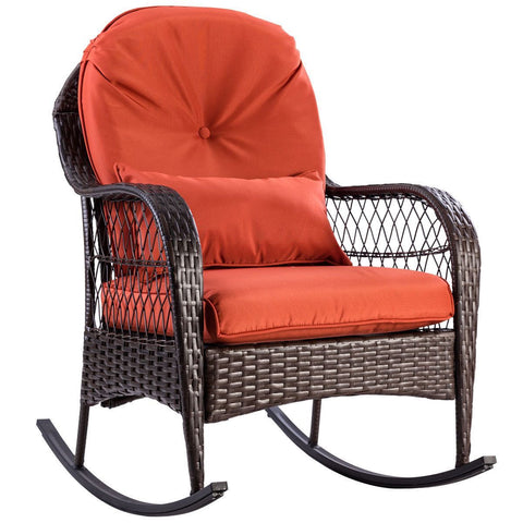 PINkart-USA Patio Rattan Wicker Rocking Chair Modern Porch Deck Rocker Outdoor Furniture With Padded Cushion