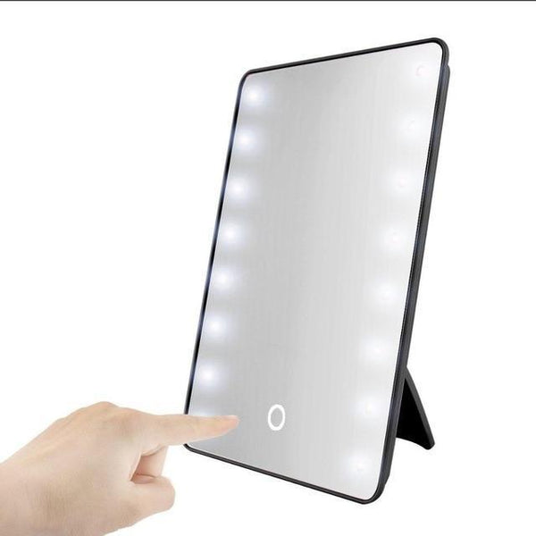 PINkart-USA pattern 1 Makeup Mirror With 16 Leds Cosmetic Mirror With Touch Dimmer Switch Battery Operated Stand For