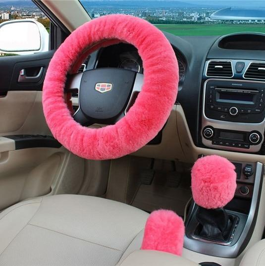 PINkart-USA Pink 100% Wool Braid On The Steering Wheel Cover Of Car Handbrake Grip /High Quality Wool Plush Gear