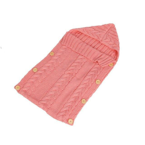 PINkart-USA Pink Baby Sleeping Bag Born Knit Crochet Winter Hooded Stroller Swaddle Blanket Soft Solid Wrap