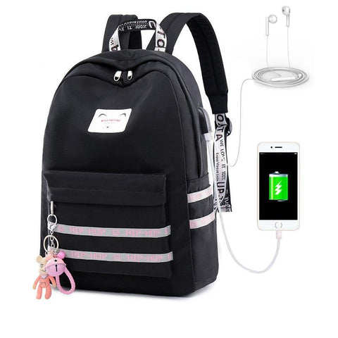 PINkart-USA pink Casual Women Backpack Usb Charging Backpacks School Bags For Teenagers Girl Laptop Backpack Mochila Feminina Students Satchel