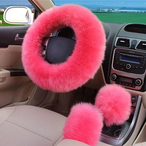 PINkart-USA Pink / China 1 Set 3 Pcs Soft Wool Steering Wheel Cover Universal/O Shi Car Winter Warm Plush Sheepskin Braid On