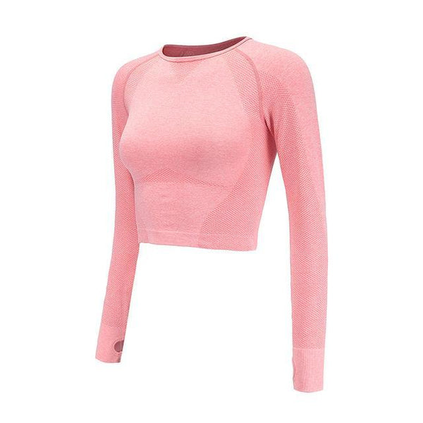 PINkart-USA pink crop top / S Vital Energy Seamless Long Sleeve Crop Top Shirts For Women Thumb Hole Yoga Shirt Fitted Gym Top