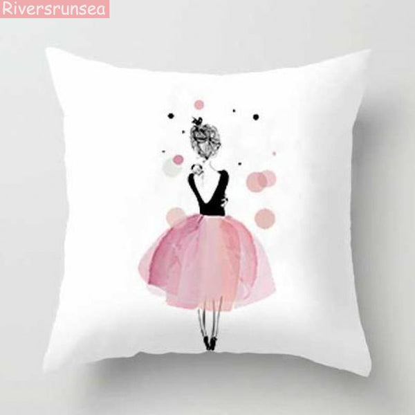 PINkart-USA Pink Girl Princess Cushion Paris Flower Eiffel Tower Wave Flamingo Feathers Ballon Plush Fabric