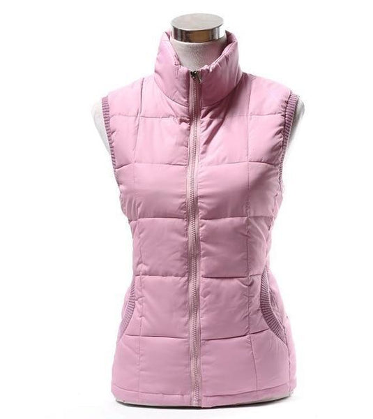 PINkart-USA pink / L Autumn Winter Women Cotton V Collar Warm Down Coat Women Warm Cotton Jacket Designer Sleeveless