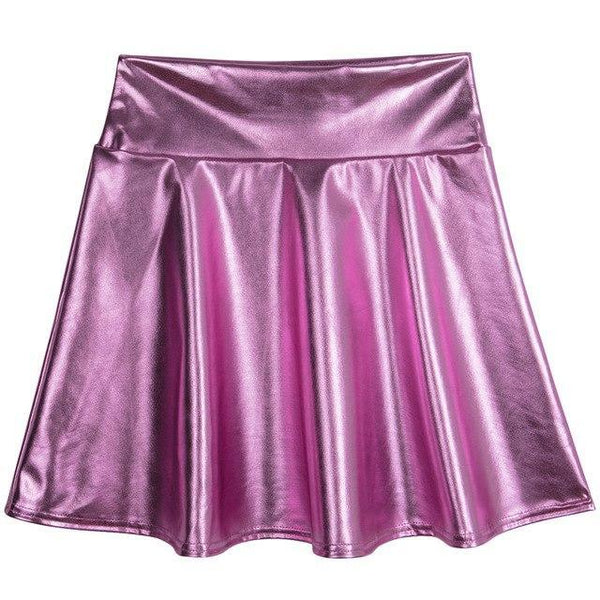 PINkart-USA pink purple / S Spring Summer Women Black Mini Skirt Korean Elastic High Waist Skirt Shortsfaux Leather Umbrella