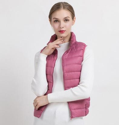 PINkart-USA Pink purple / S Women Vs Winter Ultra Light White Duck Down V Female Slim Sleeveless Jacket Women'S Windproof