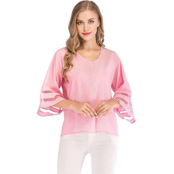 PINkart-USA pink / S / China Flare Sleeve Blouse Summer Loose V Neck Tops Mesh Stitching Chiffon Shirt Plus Size Women Shirts