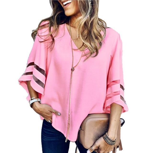 PINkart-USA pink / S / China Sexy V Neck Casual Loose Blouse Solid Tops Women Chiffon Shirt Summer Flare Sleeve Mesh Patchwork