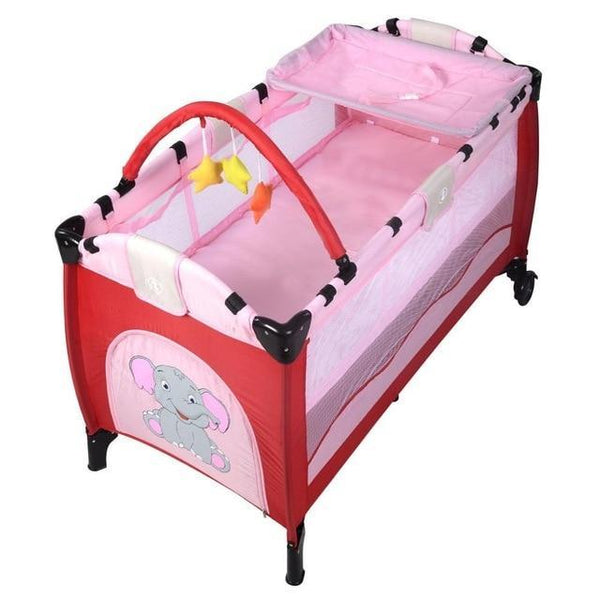 PINkart-USA pink / United States Baby Crib Playpen Playard Pack Travel Infant Bassinet Bed Foldable Pink Green Coffee Bule Bb4397