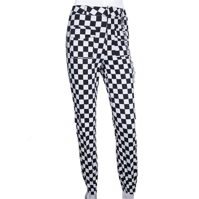 PINkart-USA plaid jogger pant / L Instahot Plaid Pencil Casual Jogger Pant Women Pockets Full Length Chain Polyester Pants Female