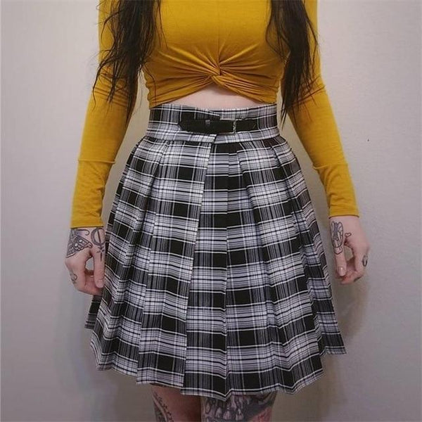 PINkart-USA plaid / L Instahot Gothic High Waist Pleated Skirts Women 2019 Punk School Style Ruched Black Pleated Mini
