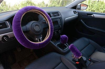 PINkart-USA Purple 3Pcs Winter Plush Fur Car Steering Wheel Cover Hand Brake Handbrake Cover Gear Knob Cover Fluffy
