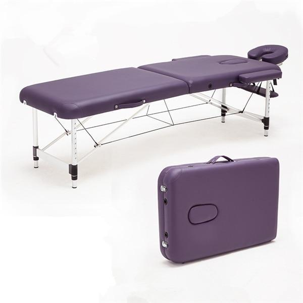 PINkart-USA Purple Color Massage&Relaxation Aluminum Portable Relaxing Massage Table With Adjustable Face Cradle Spa Bed