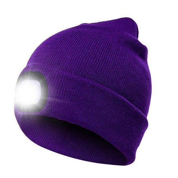 PINkart-USA Purple Led Headlamp Beanie Cap Rechargeable Lighted Hat With Led Head Light Flashlight For Outdoor Evening