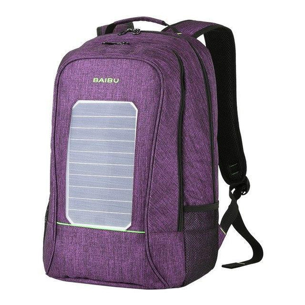 PINkart-USA Purple Multifunction Solar Energy Men Women Backpack Anti Thief Waterproof 15.6 Inch Laptop Usb Charging Backpack Leisure Travel Bags
