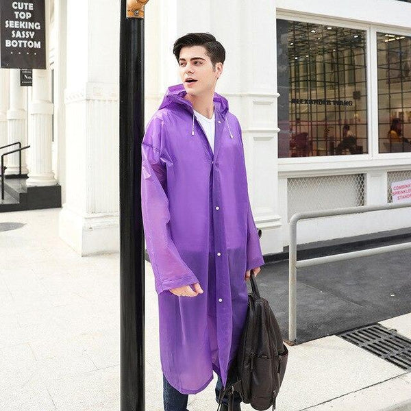 PINkart-USA Purple / One Size Fashion Women Men Eva Transparent Raincoat Portable Outdoor Travel Rainwear Waterproof Packable