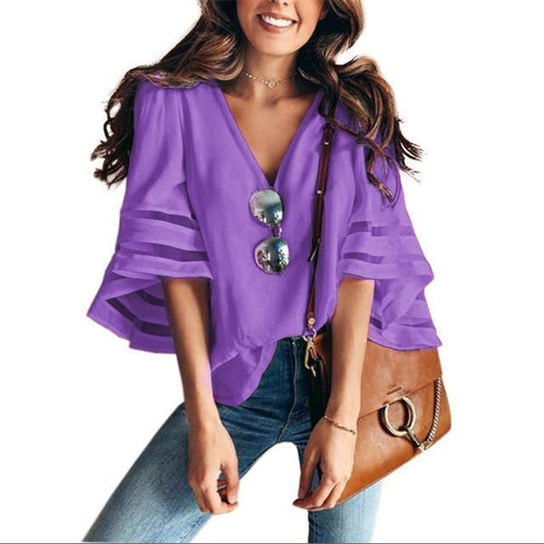 PINkart-USA purple / S / China Sexy V Neck Casual Loose Blouse Solid Tops Women Chiffon Shirt Summer Flare Sleeve Mesh Patchwork