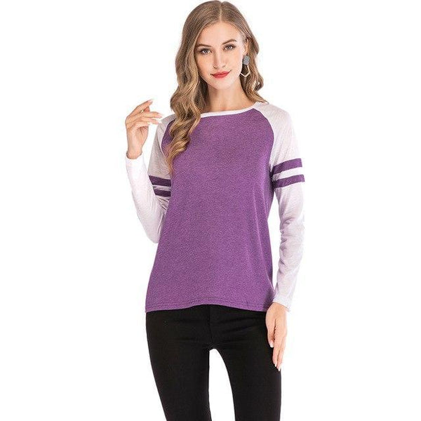PINkart-USA purple / S / China Women'S T-Shirts Patchwork Striped Long Sleeve T-Shirt Quick Dry Fitness Tee Tops Basic Tee