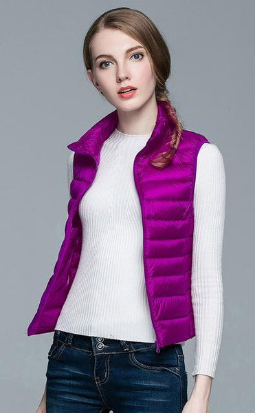 PINkart-USA Purple / S Winter Women 90% White Duck Down V Women'S Ultra Light Duck Down V Jacket Autumn Winter