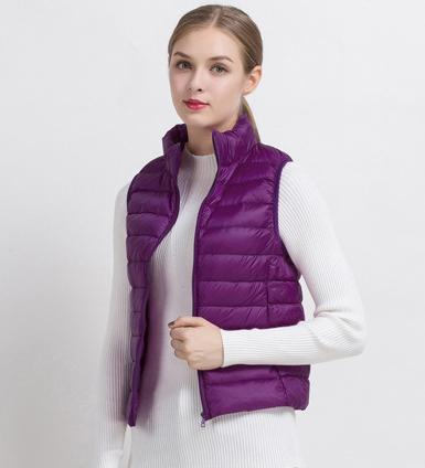 PINkart-USA Purple / S Women Vs Winter Ultra Light White Duck Down V Female Slim Sleeveless Jacket Women'S Windproof