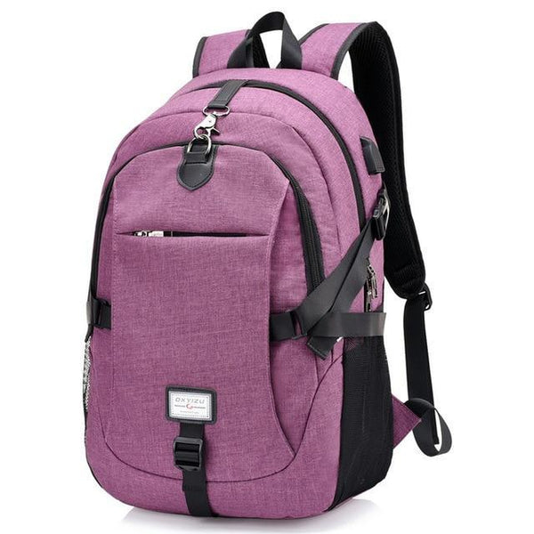PINkart-USA purple0223 Men'S Backpack Oxford Multifunction Usb Charging Backpack Student School Backpack Travel Bag For Boys Laptop Backpacks Male