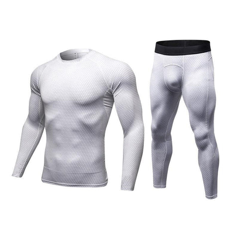 PINkart-USA Quickly Dry Compression Tracksuit Fitness Tight Running Set T-Shirt Legging Men'S Sportswear