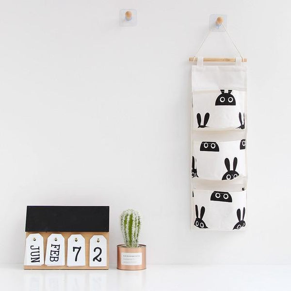 PINkart-USA rabbit Cotton Linen Storage Bag Waterproof Wall Hanging Multi-Layer Frame Makeup Jewelry Storage Box