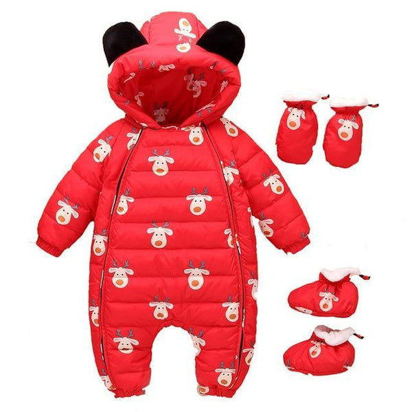 PINkart-USA Red / 12M Designed For Russian Winter Baby Snowsuit Snow Wear Christmas Outdoor 80% Duck Down Jacket Infant