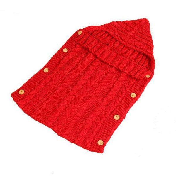 PINkart-USA Red Baby Sleeping Bag Born Knit Crochet Winter Hooded Stroller Swaddle Blanket Soft Solid Wrap