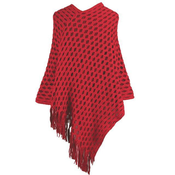 PINkart-USA red / China Women Knitted Shawl Tassel Sweater Oversized Cape Poncho Winter Autumn Loose Sweaters Pullover
