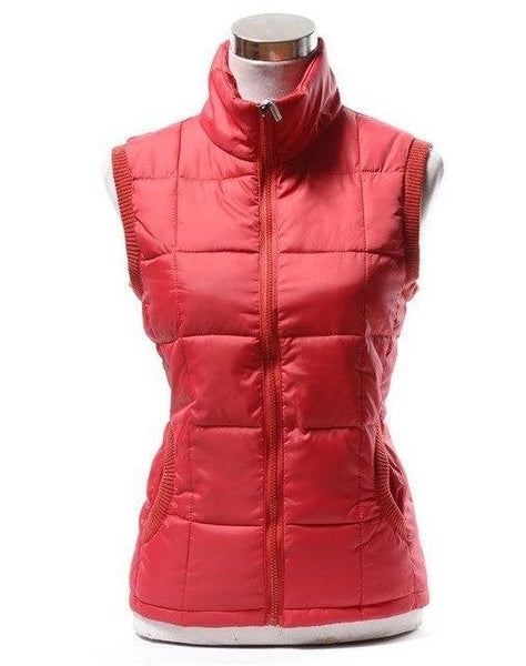 PINkart-USA red / L Autumn Winter Women Cotton V Collar Warm Down Coat Women Warm Cotton Jacket Designer Sleeveless